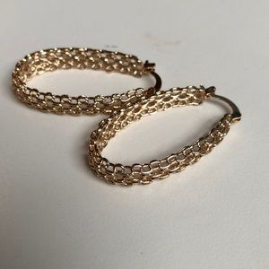 Jewelry - Gold Decorated Hoop Earrings